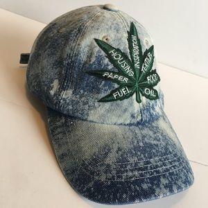 "Custom Denim Bleached ""Hemp Uses"" Hat"